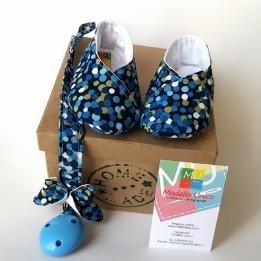 scarpine neonato blu pois con scatola